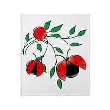 Delicate Ladybugs on Graceful Leaves Throw Blanket