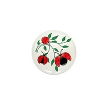 Delicate Ladybugs on Graceful Leaves Mini Button