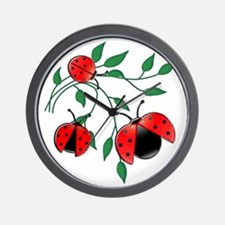 Delicate Ladybugs on Graceful Leaves Wall Clock