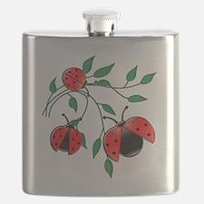 Delicate Ladybugs on Graceful Leaves Flask