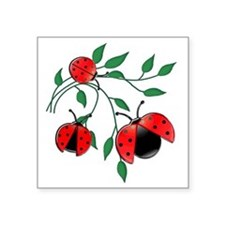 "Delicate Ladybugs on Gracef Square Sticker 3"" x 3"""