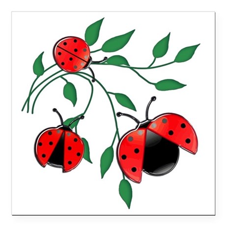 "Delicate Ladybugs on Gra Square Car Magnet 3"" x 3"""