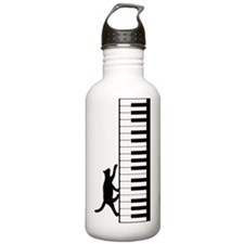 Cat and Piano v.2-M Water Bottle