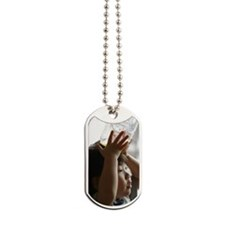 Girl holding a plastic bottle Dog Tags