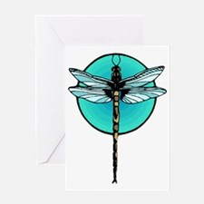 Graphic Dragonfly in Aqua Circle Greeting Card