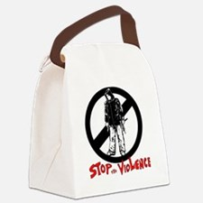 STOP THE VIOLENCE -- white backgr Canvas Lunch Bag