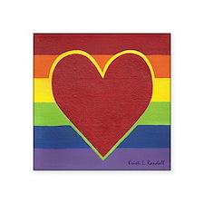 """Rainbow Love by Kristi L Ra Square Sticker 3"""" x 3"""""""