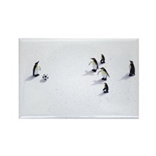 The penguins playing soccer Rectangle Magnet