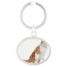 Scottish Fold Cat Oval Keychain
