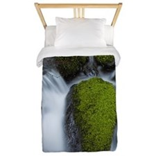 Water of river that flows in woods Twin Duvet