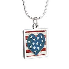 American Love Silver Square Necklace