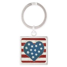 American Love Square Keychain