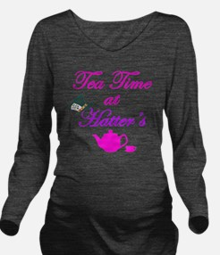 Tea Time at Hatters Long Sleeve Maternity T-Shirt