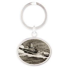 uss torsk large framed print Oval Keychain