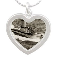 uss torsk large framed print Silver Heart Necklace