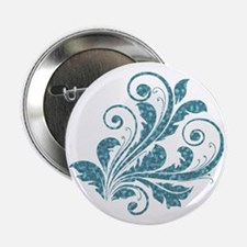 """Blue Artistic Floral 2.25"""" Button"""