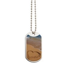 Heart drawn in red sand on beach, elevate Dog Tags