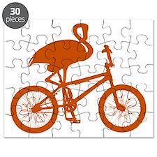 Orange Flamingo on Bicycle Puzzle