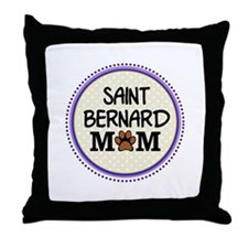 Saint Bernard Dog Mom Throw Pillow