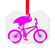 Pink Flamingo on Bicycle Ornament