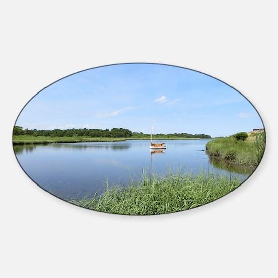 Sailboat on Acabonac Bay Sticker (Oval)