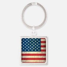 Vintage USA Flag Square Keychain