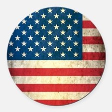 Vintage USA Flag Round Car Magnet