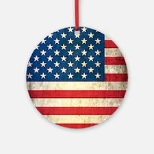 Vintage USA Flag Round Ornament