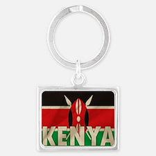 Kenya Fabric Flag Landscape Keychain