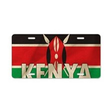 Kenya Fabric Flag Aluminum License Plate