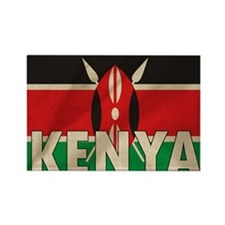 Kenya Fabric Flag Rectangle Magnet