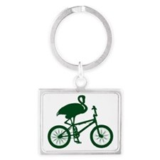 Dark Green Flamingo on Bicycle Landscape Keychain