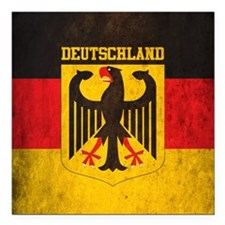 "Vintage Deutschland Flag Square Car Magnet 3"" x 3"""