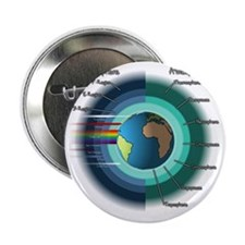"""Earths atmosphere and Ionosphere 2.25"""" Button"""