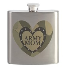 ARMY MOM CAMOUFLAGE HEART Flask