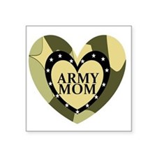 "ARMY MOM CAMOUFLAGE HEART Square Sticker 3"" x 3"""