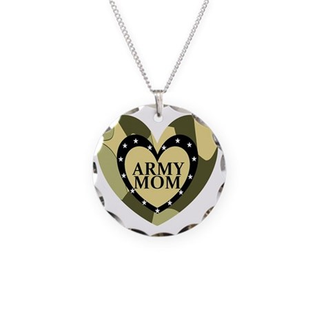 ARMY MOM CAMOUFLAGE HEART Necklace Circle Charm