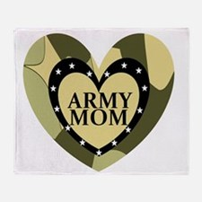 ARMY MOM CAMOUFLAGE HEART Throw Blanket