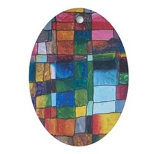 Color Block Painting Oval Ornament
