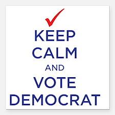 """vote democrat Square Car Magnet 3"""" x 3"""""""