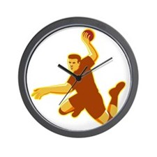 handball player jumping striking retro Wall Clock