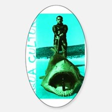 Aqua Culture on Beach with Shark Sticker (Oval)