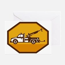 vintage tow wrecker truck side view  Greeting Card