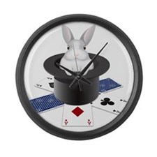 Bunny rabbit in top hat against w Large Wall Clock
