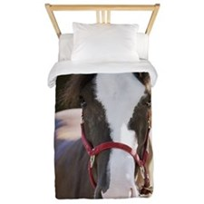 Close-up of a horse tied in a stable Twin Duvet