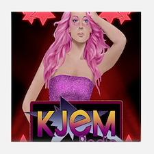 kjem-radio pink-hair-rocker-star-red- Tile Coaster