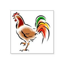 "Colorful Rooster Square Sticker 3"" x 3"""