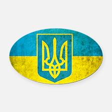 Ukraine Grunge Flag Oval Car Magnet