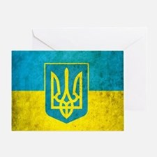Ukraine Grunge Flag Greeting Card