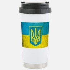 Ukraine Grunge Flag Travel Mug